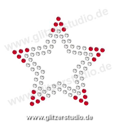 Sterne aus Strass 'Stern7-38 rot' zum aufbügeln 2081